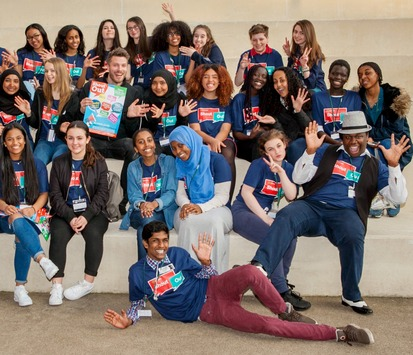 Tvpresenterauthor rickedwards with young people at camden shout out 7 4 15