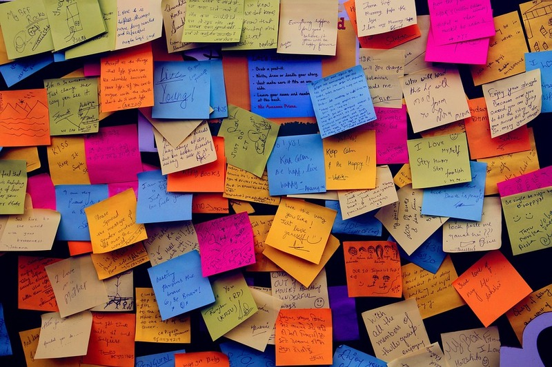 wall of multi coloured sticky notes