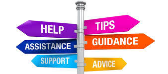 Signpost for help, tips, assistance, guidance, support and advice