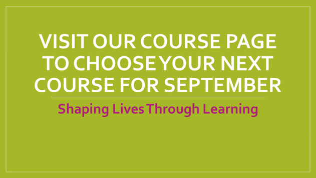 September Courses Announced