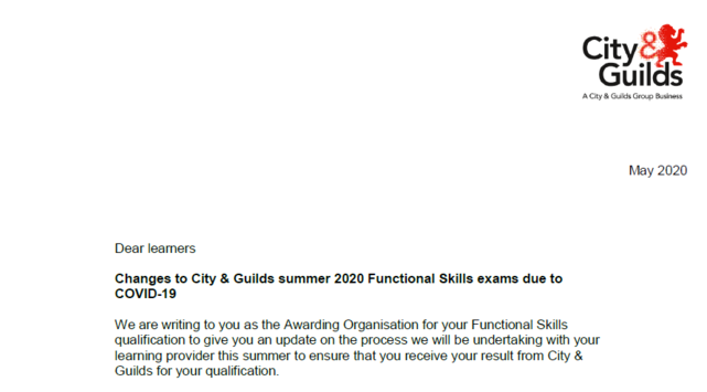 Learner Announcement - Functional Skills Grades