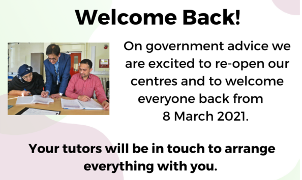 Centres re-open from 8th March