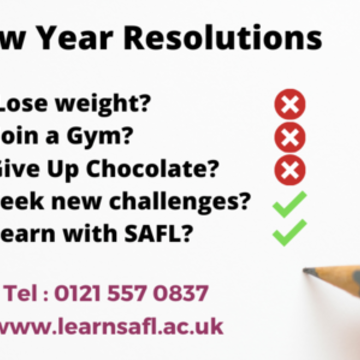 Thumb lose weight  join a gym  give up chocolate  seek new challenges  learn with safl